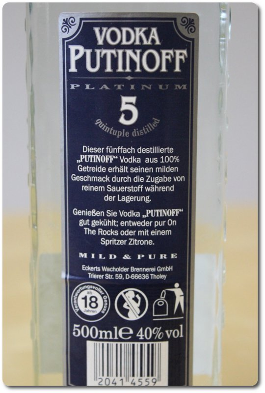 Foto: Vodka Putinoff Backside